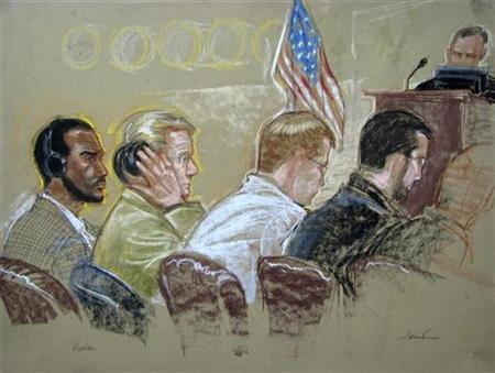 A courtroom sketch reviewed and cleared for release by U.S. military officials shows Guantanamo detainee Salim Ahmed Hamdan (L) flanked by his legal team inside a courtroom at Guantanamo Naval Base, June 4, 2007. Hamdan, who was born in Yemen around 1970, has acknowledged working for bin Laden in Afghanistan for $200 a month but denies he was a member of al Qaeda and has said he never took part in any terrorist attacks. REUTERS/Janet Hamlin/Pool