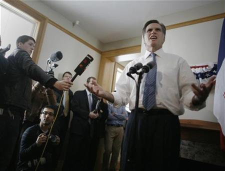 U.S. Republican presidential candidate, former Massachusetts Governor Mitt Romney, speaks to the media following a campaign stop at Fort Des Moines, Iowa, December 7, 2007. REUTERS/Jason Reed