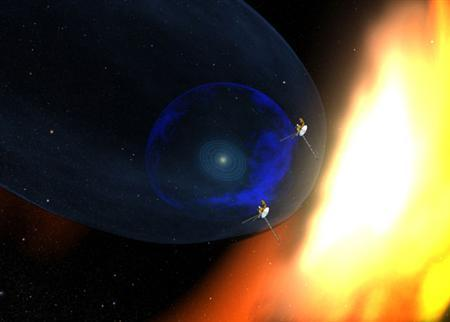 An image released by the Voyager Project on December 10, 2007. NASA's Voyager 2 spacecraft has found that our solar system is not round but is ''dented'' by the local interstellar magnetic field of deep space, space experts said on Monday. REUTERS/Voyager Project/NASA/Handout