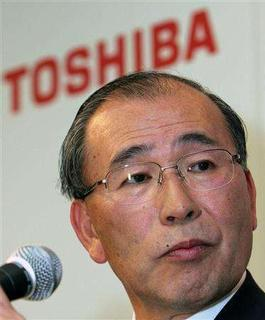 Toshiba Corp. President Atsutoshi Nishida speaks during a news conference at the Toshiba headquarters in Tokyo October 17, 2006. Toshiba said on Tuesday it had shelved plans to sell ultra-thin TVs with organic light-emitting diode (OLED) displays in 2009/10 because of the cost of mass production. REUTERS/Toshiyuki Aizawa