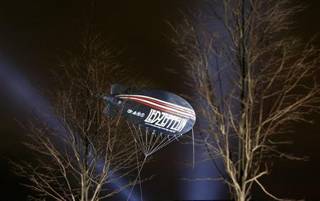 A publicity balloon is suspended outside the O2 Arena venue in south east London, December 10, 2007. REUTERS/Toby Melville