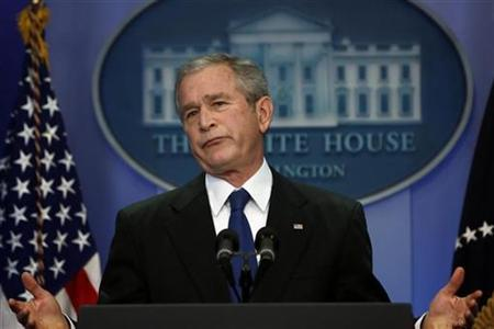 U.S. President George W. Bush holds a news conference in the Brady press briefing room at the White House in Washington December 4, 2007. Former England soccer manager Steve McClaren fought off tough competition from U.S. President George W. Bush to win a dreaded ''Foot in Mouth'' award on Tuesday from the Plain English campaign. REUTERS/Jim Young
