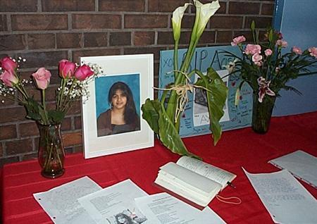 A memorial for Aqsa Parvez is set up at Applewood Heights S.S. in Mississauga, in this undated handout photo. The Canadian teenager who was said to have clashed with her father about whether she should wear a traditional Muslim head scarf died of injuries late on Monday, and her father told police he had killed her. REUTERS/Handout/ Peel District School Board.