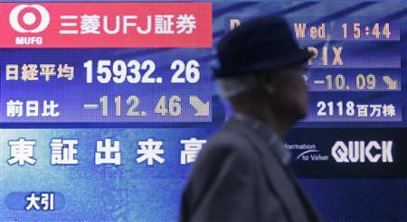 A man walks past a display showing Japan's TOPIX stock index at 15932.26 in Tokyo December 12, 2007. REUTERS/Michael Caronna