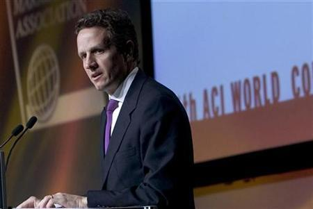 Timothy Geithner, President of the Federal Reserve Bank of New York, speaks at the Financial Markets Association World Congress in Montreal May 4, 2007. New York Federal Reserve Bank President Timothy Geithner said on Thursday that new actions taken by major central banks will help reduce risks that liquidity problems could affect the broader economy. REUTERS/Christinne Muschi