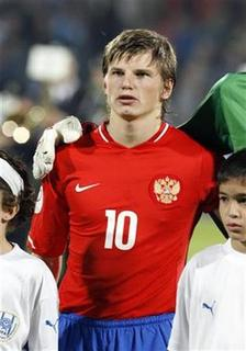 Russia's Andrei Arshavin stands on the pitch before their Euro 2008 Group E qualifier football match against Israel at Ramat Gan stadium near Tel Aviv November 17, 2007. Russia's Andrei Arshavin stands on the pitch. REUTERS/Oleg Popov