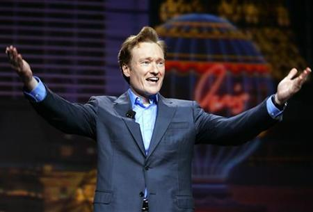 Conan O'Brien gestures at the 2005 International Consumer Electronics Show in Las Vegas January 5, 2005. Idled television talk-show hosts O'Brien and Jay Leno are likely to return to work in early January, even if the Hollywood writers strike is not settled by then, Daily Variety reported in its Friday edition. REUTERS/Mike Blake
