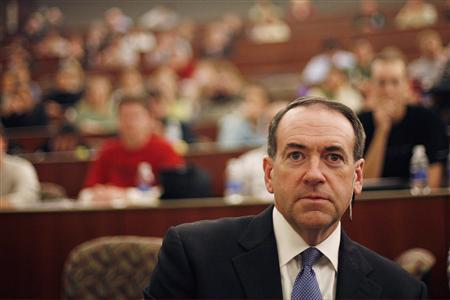 Republican presidential candidate and former Arkansas Governor Mike Huckabee waits to speak at a forum on health care at Des Moines University in Des Moines, Iowa December 12, 2007. REUTERS/Keith Bedford