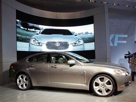 The Jaguar XF vehicle is seen during the Los Angeles Auto Show in Los Angeles, California November 14, 2007. Ford Motor Co is poised to name India's Tata Motors as preferred bidder for its Jaguar and Land Rover brands, Britain's Sunday Times newspaper reported. REUTERS/Danny Moloshok