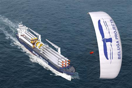 The 433 ft long MV ''Beluga SkySails'' in an undated image. Turning ocean winds into gold while cutting greenhouse emissions in the process might sound like some sort of alchemy for the 21st century. The ship will make its maiden voyage in January across the Atlantic to Venezuela, up to Boston and back to Europe. It will be pulled by a giant computer-guided $725,000 kite tethered to the mast. REUTERS/Handout