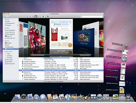 A screengrab from the MAC OS X Leopard operating system courtesy of Apple. The launch of Apple's latest operating system, Leopard, was its best ever, a research group said on Monday. REUTERS/Handout