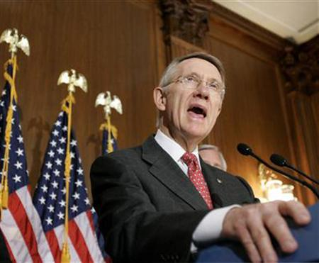 Senate Majority Leader Harry Reid (D-NV) on Capitol Hill, November 13, 2007. Reid on Monday abruptly postponed until next month consideration of a measure to give immunity to telephone companies that participated in President Bush's warrantless domestic spying program. REUTERS/Molly Riley