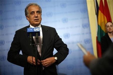 United States Ambassador to the United Nations, Zalmay Khalilzad speaks to the media in New York September 26, 2007. Khalilzad called on Tuesday for a full investigation into alleged corruption in contracts worth some $610 million linked to U.N. peacekeeping missions.REUTERS/Eric Thayer