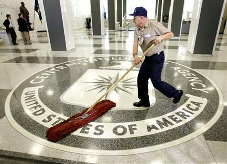 The CIA logo is swept clean in the lobby of the CIA headquarters in Langley, Virginia March 3, 2005. A judge on Tuesday ordered the Bush administration to explain whether the CIA violated a court order by destroying videotapes of the harsh interrogations of two terrorism suspects. REUTERS/Jason Reed