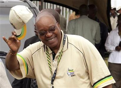African National Congress (ANC) Deputy President Jacob Zuma gestures as he arrives for the second day of the ANC conference in Polokwane, December 17, 2007. REUTERS/Siphiwe Sibeko