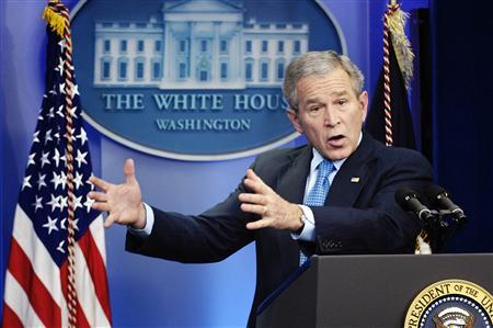 President George W. Bush answers a question during a news conference at the White House in Washington December 20, 2007. REUTERS/Jonathan Ernst