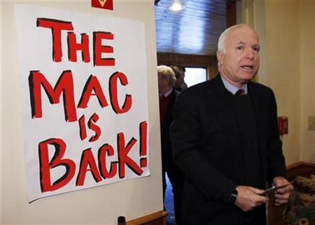 Republican presidential candidate Senator John McCain (R-AZ) arrives for a campaign stop in Hillsborough, New Hampshire December 17, 2007 where Senator McCain received the endorsement of U.S. Senator Joseph Lieberman (I-CT). REUTERS/Brian Snyder