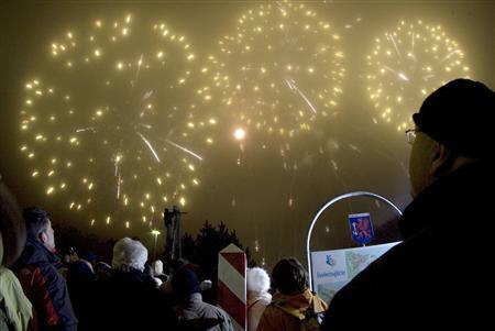 spectators watch fireworks during celebrations at the german polish border checkpoint ahlbeck swinemuende