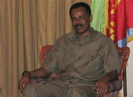 Eritrean President Isaias Afwerki sits before meeting with rebel leaders from Sudan?s Darfur region in Asmara May 31, 2007. Eritrean opposition groups should help each other bring down the pro-Ethiopian government of President Isaias Afwerki, the Walta News Agency quoted one opposition leader as saying on Friday. REUTERS/Jack Kimball