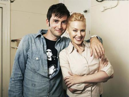 ''Doctor Who'' actor David Tennant and Kylie Minogue in an undated publicity photo. Minogue, who played the part of a waitress in a special called Voyage of the Damned, helped boost Doctor Who's audience figures to 13.8 million viewers. REUTERS/BBC/Handout