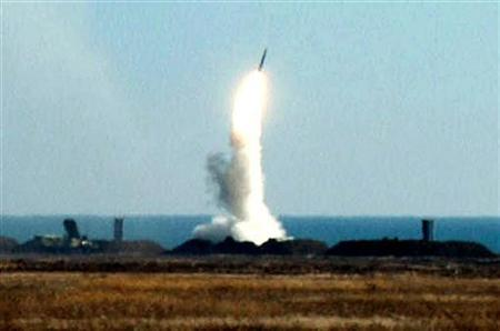 An S-300 missile is test-fired in Ukraine in a 2001 photo. Russia has agreed to sell an S-300 anti-aircraft missile system to Iran, Iran's defense minister was quoted as saying on Wednesday, a report likely to irritate the United States. REUTERS/File