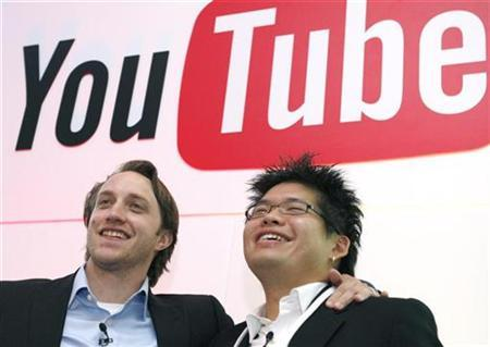 Chad Hurley (L) and Steve Chen, co-founders of YouTube, which was acquired by Web search leader Google Inc. for $1.65 billion last year, pose after a news conference in Paris, June 19, 2007. REUTERS/Philippe Wojazer