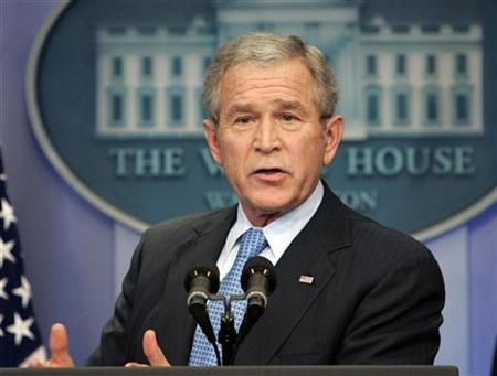 President George W. Bush holds a news conference in the press briefing room at the White House in Washington December 20, 2007. Bush intends to veto defense authorization legislation over a provision that would ''imperil Iraqi assets held in the United States,'' the White House said on Friday. REUTERS/Larry Downing