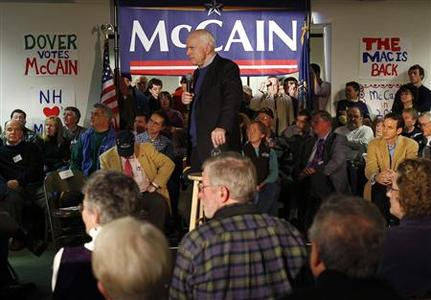 Republican presidential candidate Senator John McCain (R-AZ) listens to a question from the audience during a campaign stop at the Annunciation Greek Orthodox Church in Dover, New Hampshire December 29, 2007. REUTERS/Brian Snyder