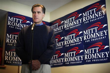 Republican presidential candidate and former Massachusetts Governor Mitt Romney speaks during a campaign stop in Johnston, Iowa January 1, 2008. REUTERS/Keith Bedford