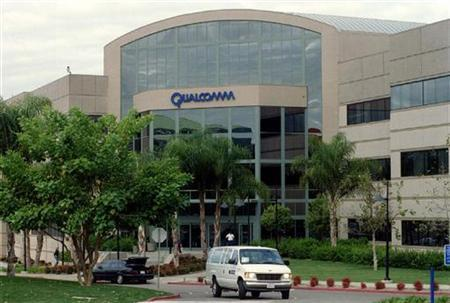 The headquarters of Qualcomm Inc. in San Diego is seen December 5, 1997. Wireless chip maker Qualcomm Inc. said on Wednesday new chipsets, designed to comply with a court's patent infringement ruling, were now available and expected to be in handsets before the end of March. REUTERS/J T Lovette