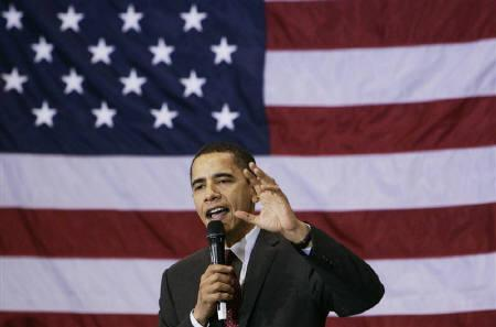 Democratic presidential candidate U.S. Senator Barack Obama (D-IL) speaks at a campaign rally at Roosevelt High School in Des Moines, Iowa, January 1, 2008. REUTERS/Jim Young
