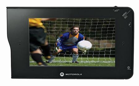 Motorola's new Mobile TV DVBH compatible DHO1 device in an image released on Thursday. Motorola on Thursday unveiled a mobile media player that shows live television, on-demand video clips and programming saved on digital video recorders. REUTERS/Handout
