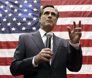 Republican presidential candidate and former Massachusetts Governor Mitt Romney addresses a group of employees during a campaign stop in West Des Moines, Iowa, January 3, 2008. REUTERS/Jeff Haynes