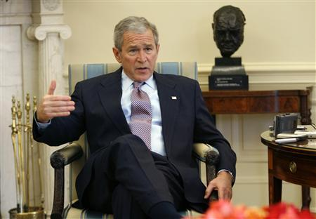 President George W. Bush speaks during an interview with Reuters reporters in the Oval Office of the White House in Washington January 3, 2008. REUTERS/Kevin Lamarque