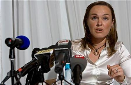 Former world number one tennis player Martina Hingis of Switzerland speaks during a news conference in Zurich, November 1, 2007. Hingis, who retired from tennis in November after testing positive for cocaine, was banned for two years on Friday after an independent tribunal confirmed the doping offence. REUTERS/Miro Kuzmanovic
