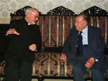 The ''Black Pope,'' Father Peter-Hans Kolvenbach (L), is shown in this file photo with former Venezuelan President Rafael Caldera. There won't be any white smoke to tell the world he has been elected, but another sort of secret conclave began in Rome on Monday -- to chose the worldwide Jesuit leader who is known as the ''the black pope''. REUTERS/Andres Leighton