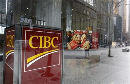 A Canadian Imperial Bank of Commerce (CIBC) branch is seen in Toronto, November 9, 2007. Canadian Imperial Bank of Commerce, grappling with some $11 billion in exposure to the battered U.S. subprime mortgage market, shook up its executive suite on Monday, ousting its chief risk officer and the head of its corporate and wholesale banking unit. REUTERS/Mark Blinch