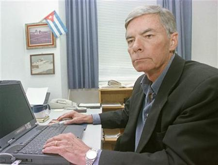 Former CIA whistle-blower Philip Agee sits in a Havana office in an undated file photo. Agee, a former CIA spy who exposed its undercover operations in Latin America in a 1975 book, died in Havana, the Cuban Communist Party newspaper Granma said on Wednesday. REUTERS/Rafael Perez