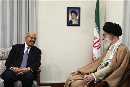 International Atomic Energy Agency (IAEA) Director General Mohamed Elbaradei (L) smiles while attending a meeting with Iran's Supreme Leader Ayatollah Ali Khamenei in Tehran January 12, 2008. REUTERS/IRNA