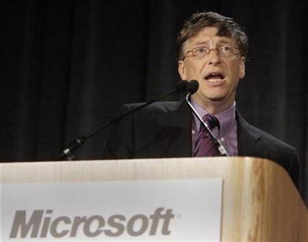 Microsoft chairman Bill Gates speaks to shareholders at the company's annual meeting in Seattle, Washington, November 13, 2007. The European Commission opened a new antitrust probe against Microsoft on Monday into whether it unfairly tied its Web browser to the Windows operating system and made it harder for rival software to work with Windows. REUTERS/Robert Sorbo