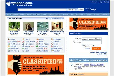 A screenshot of MySpace.com, taken on January 14, 2008. Social network MySpace, a popular online hangout for teens, and 49 U.S. state attorneys general on Monday issued guidelines for protecting youths on the Internet with the aim of promoting those principles throughout the industry. REUTERS/www.myspace.com