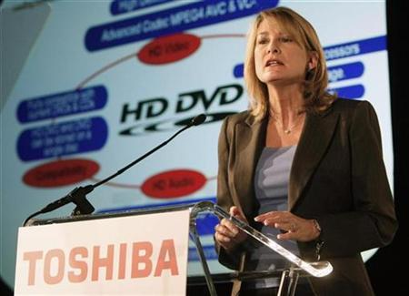 Jodi Sally, vice-president marketing for Toshiba America Digital A/V Group, speaks about the companies support for the HD DVD format at a news conference at the Consumer Electronics Show in Las Vegas, January 6, 2008. REUTERS/Rick Wilking