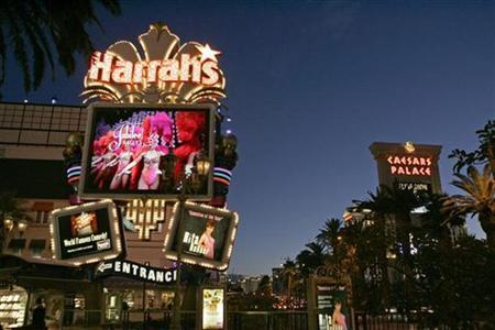 A view of the marquee sign in front of the Harrah's Las Vegas casino on the Las Vegas Strip in Nevada, December 12, 2007. A federal judge on Thursday allowed Nevada's Democratic Party to conduct voting to choose a presidential nominee in casino hotels on the Las Vegas Strip, a decision likely to boost Sen. Barack Obama. REUTERS/Las Vegas Sun/Steve Marcus/Files
