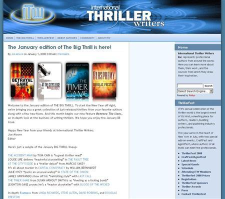 A screen grab of thrillerwriters.org. REUTERS/thrillerwriters.org