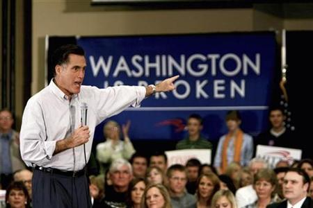 Republican presidential candidate Mitt Romney fires up the crowd as he speaks about Washington being broken at the start of his Florida swing in Jacksonville January 19, 2008, after winning the Nevada primary today and the Michigan primary earlier in the week. REUTERS/Mark Wallhesier