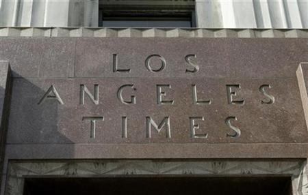 The Los Angeles Times newspaper building in downtown Los Angeles, April 2, 2007. The editor of the newspaper, James O'Shea, has been fired over a budgetary dispute only 14 months after he took over the post, the newspaper said on Sunday. REUTERS/Fred Prouser