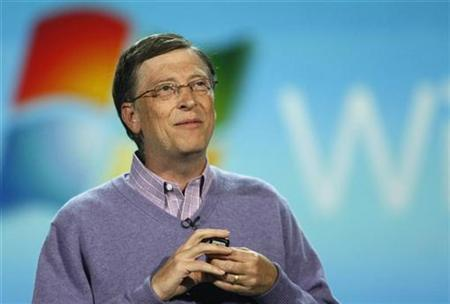 Microsoft Chairman Bill Gates speaks at a keynote address at the Consumer Electronics Show (CES) in Las Vegas, Nevada January 6, 2008. Microsoft acquired a start-up company called Calista Technologies and expanded its alliance with Citrix Systems, targeting VMware Inc's early lead in virtualization technology. REUTERS/Rick Wilking