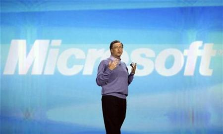 Microsoft Chairman Bill Gates speaks at a keynote address at the Consumer Electronics Show (CES) in Las Vegas, Nevada, January 6, 2008. REUTERS/Rick Wilking