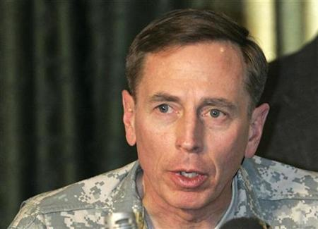 U.S. commander in Iraq General David Petraeus speaks during a meeting with tribal members of the awakening council, in Baghdad, December 13, 2007. The Pentagon sought on Tuesday to cool talk about future assignments for Petraeus, the U.S. commander in Iraq, following reports he was a candidate for the top NATO command post. REUTERS/Mohammed Ameen
