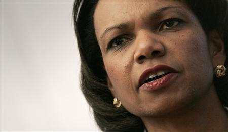 Secretary of State Condoleezza Rice addresses reporters at the end of her meeting with Swiss Federal Councillor Micheline Calmy-Rey at Zurich Airport in Kloten January 23, 2008. REUTERS/Christian Hartmann